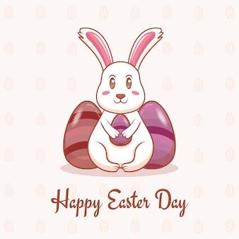 Happy easter day grußkarte mit niedlichen kaninchen ostern