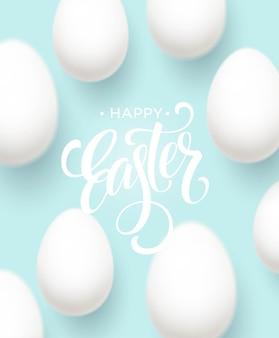 Happy easter egg schriftzug auf dem blauen hintergrund mit weißem ei. vektorillustration eps10