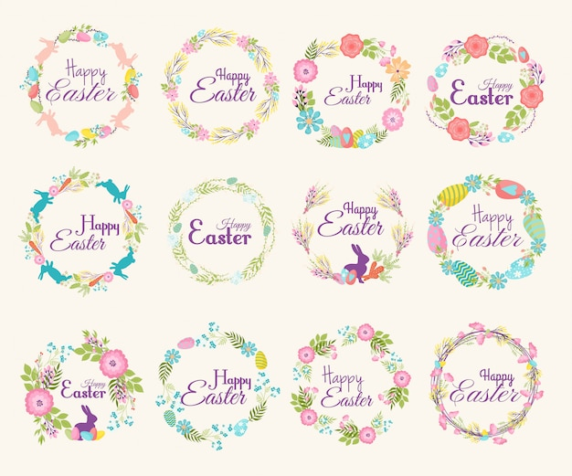 Happy easter logo zitat text blume zweig und frühling illustration traditionelle dekoration elemente abzeichen schriftzug gruß ostern feiern karte und natürlichen kranz frühlingsblume