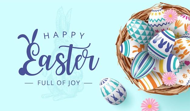 Happy eater banner mit bunten gemalten eiern im nest auf rosa hintergrund