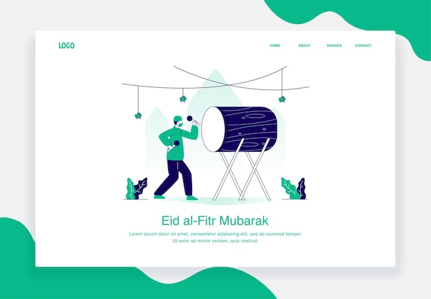 Happy eid al fitr illustrationskonzept von hit the drum flat design