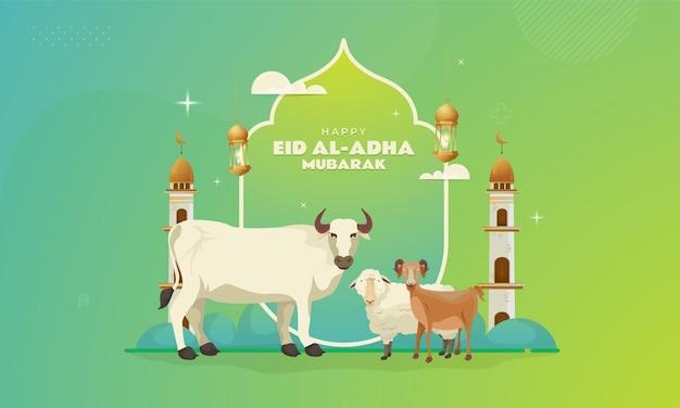 Happy eid aladha banner mit ziegen, schafen und kühen, die geopfert werden sollen