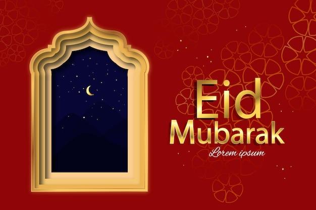 Happy eid mubarak im papierstil mit arabischem fenster