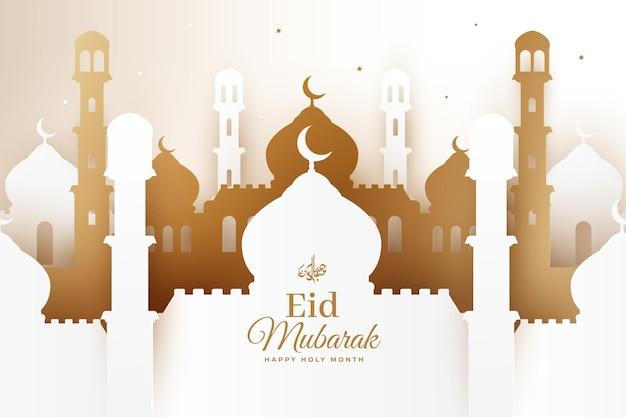 Happy eid mubarak moschee im papierstil