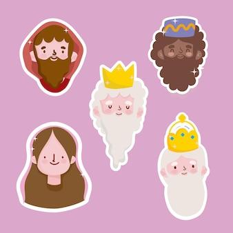 Happy epiphany, joseph mary und drei weise könige stehen vor aufklebern
