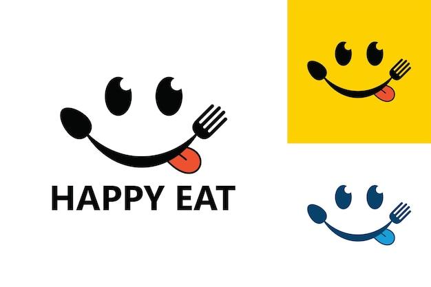 Happy essen logo vorlage premium-vektor