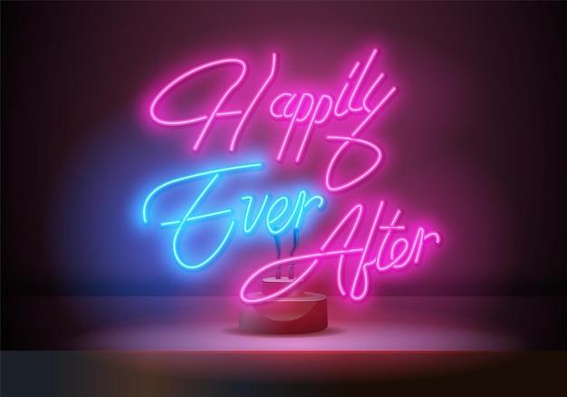 Happy ever after leuchtreklame vektortext. lichtsymbol. brennen eines zeigers auf eine schwarze wand in einem club, einer bar oder einem café. vektor-illustration