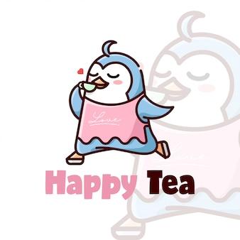 Happy face pinguin trinken sie einen becher teekarton-logo