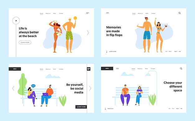 Happy family bei beach party und social media communication website landing page set