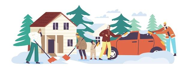 Happy family characters eltern und kinder schaufeln schnee vom hausvorgarten mit schaufeln und bürsten, reinigen straße und auto nach schneefall. winterzeit-aktivität. cartoon-menschen-vektor-illustration
