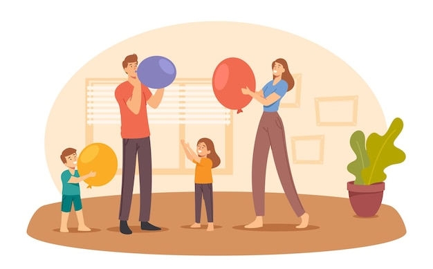 Happy family characters eltern und kleine kinder blasen luftballons für die raumdekoration. geburtstag oder feiertagsfeier. eltern und kinder bereiten sich auf die jubiläumsveranstaltung vor. cartoon-menschen-vektor-illustration