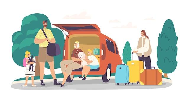 Happy family characters sitzen am kofferraum mit hund bereit für die reise. mutter, vater und aufgeregte kinder mit haustier und gepäck verlassen das haus für die straßenreise. cartoon-menschen-vektor-illustration