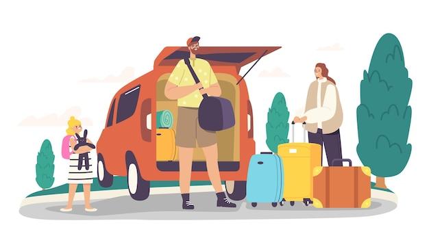 Happy family charaktere laden taschen in den kofferraum bereit für die reise. mutter, vater und aufgeregtes kind mit gepäck verlassen das haus, eltern und tochter road journey. cartoon-menschen-vektor-illustration