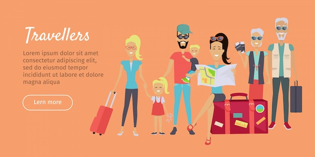 Happy family trip reisen banner