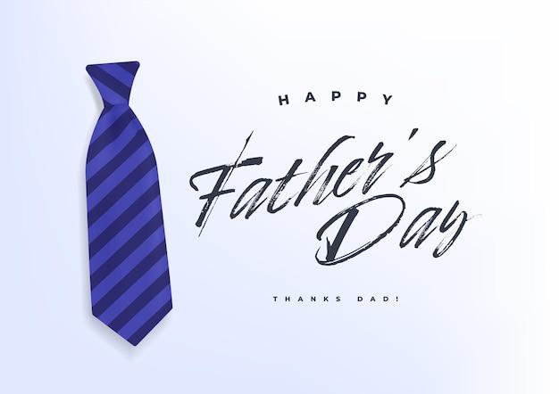 Happy fathers day kalligraphie mit blauem krawattenbanner