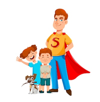 Happy fathers day papa im superheldenkostüm steht mit seinem sohn und seiner tochter