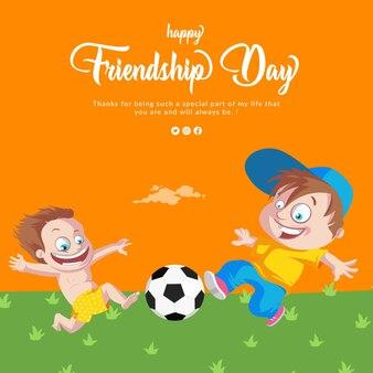 Happy friendship day banner design mit kindern, die mit ball spielen