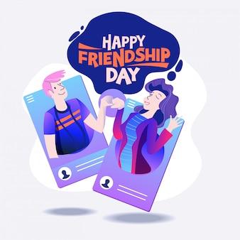 Happy friendship day, freunde aus sozialen netzwerken