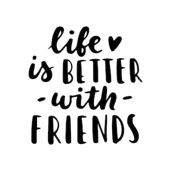 Happy friendship day handschriftzug. beste freunde für immer. grußkarten-typografie-vorlage.