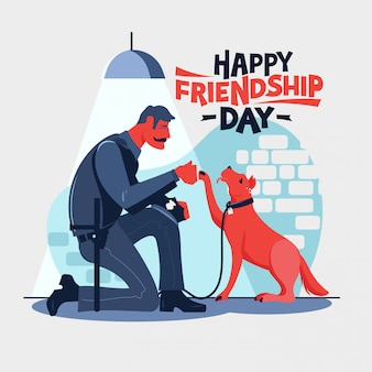 Happy friendship day, polizist setzt sich mit seiner partnerhundepolizei zusammen