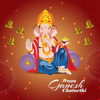 Happy ganesh chaturthi feier grußkarte mit vektor-illustration