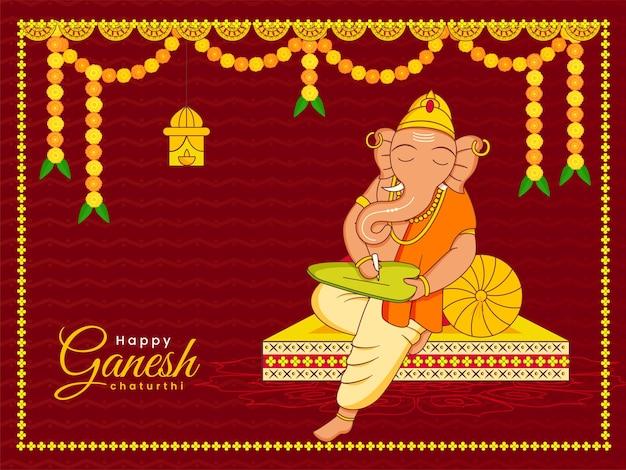 Happy ganesh chaturthi feier hintergrund mit lord ganesha writing on leaf illustration.
