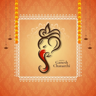 Happy ganesh chaturthi religiöses festival eleganter hintergrundvektor