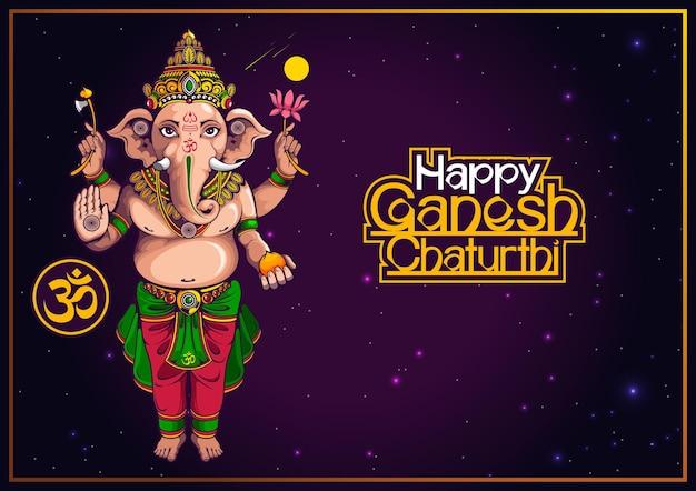 Happy ganesh chaturthi von indien für traditionelles hinduistisches festival, hintergrund-cartoon-vorlage.