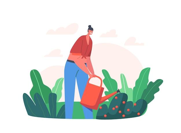 Happy girl gardening, bewässerung obstgarten aus der dose. farmer woman care of bush, gartenbau und olericulture hobby, landwirtschaftliche arbeit, weibliche figur im garten. cartoon-menschen-vektor-illustration
