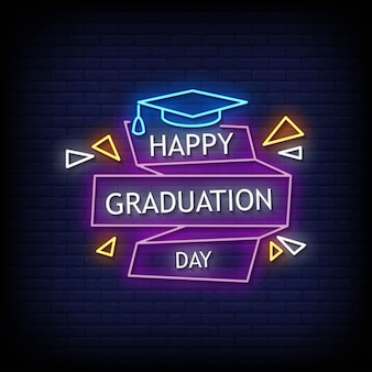 Happy graduation day neon signs style text vector