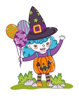 Happy gril mit kürbis kostüm und luftballons