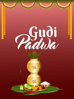 Happy gudi padwa einladungsplakat mit kreativem kalash
