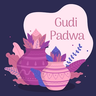 Happy gudi padwa event mit flachem design