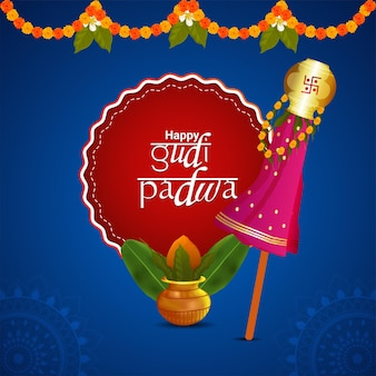 Happy gudi padwa hindu neujahrsfeier grußkarte