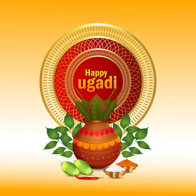 Happy gudi padwa indischer traditioneller festivalhintergrund