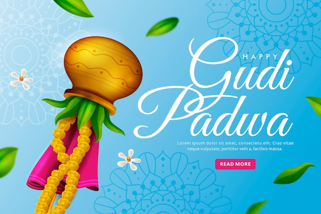 Happy gudi padwa realistisches design
