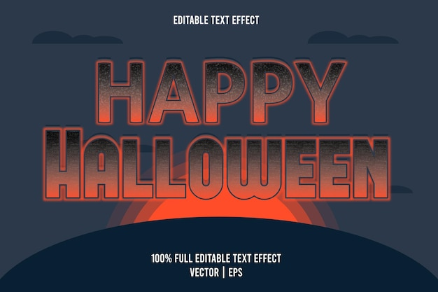 Happy halloween 3 dimension texteffekt dunkelblau und orange farbe