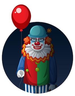 Happy halloween abzeichen mit zwei gruseligen clowns
