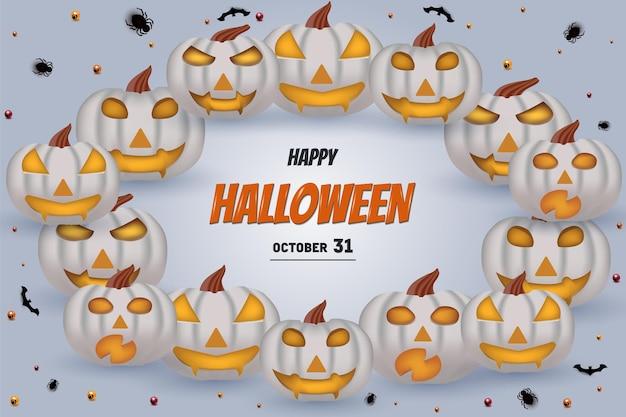 Happy halloween auf einem hintergrund von parallelen kürbissen, die die schrift umkreisen