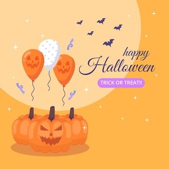 Happy halloween banner mit kürbis und ballons.