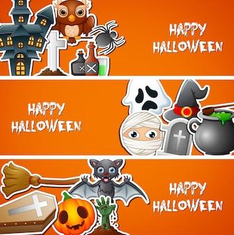 Happy halloween banner mit niedlichen aufklebern