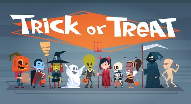 Happy halloween banner mit niedlichen cartoon-monstern