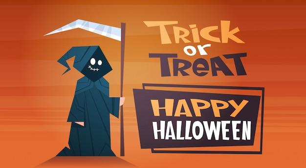 Happy halloween banner mit niedlichen cartoon tod süßes oder saures