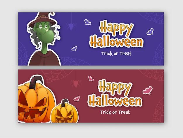 Happy halloween banner oder header design mit jack-o-laternen und hexenfigur in zwei farboptionen.