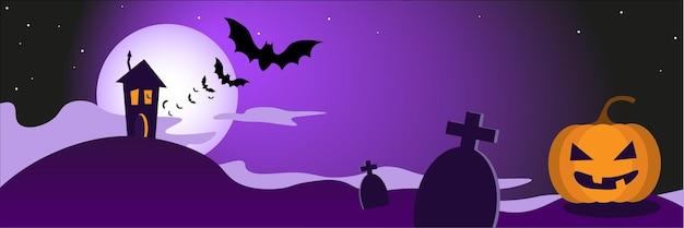 Happy halloween banner oder party einladung hintergrund mit kürbis dunklem haus und fledermäusen