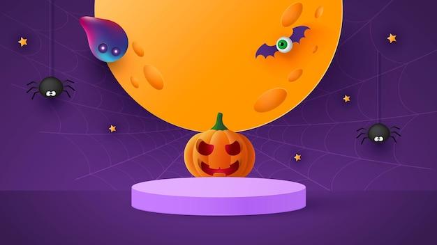 Happy halloween banner oder party einladung hintergrund mit mond, fledermäusen und lustigen kürbissen vektor-illustration. vollmond am himmel, spinnweben und sterne.