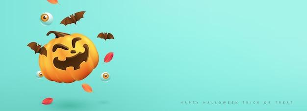 Happy halloween banner oder party einladung hintergrund mit textfreiraum und kürbisse festliche elemente