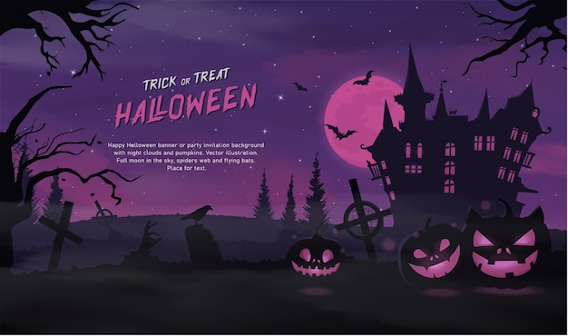 Happy halloween banner oder party einladung hintergrund mit violetten nebelwolken und kürbissen