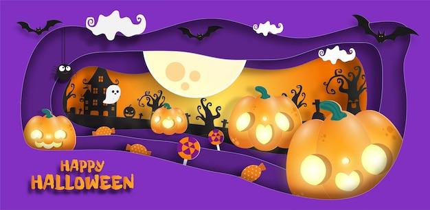 Happy halloween banner papierschnitt stil hintergrund poster spaß party süßes oder saures