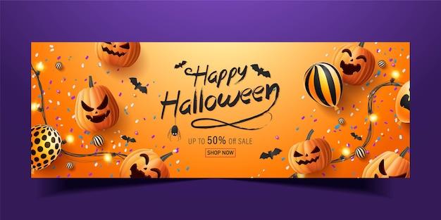 Happy halloween banner, verkaufsförderungsbanner mit halloween-süßigkeiten, leuchtenden girlanden, ballon und halloween-kürbissen. 3d-illustration